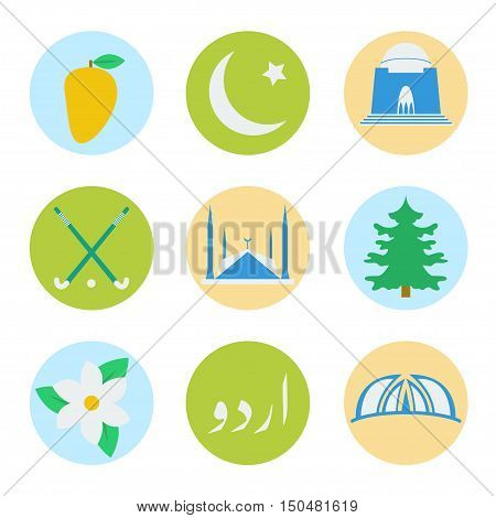 National Symbols of Pakistan, including national mosque, monument, sport, flower, language, flag, tree, fruit and mausoleum.
