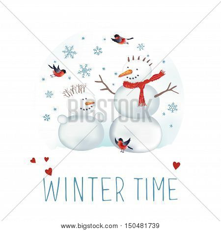 Vector illustration about winter time. Snowmen, bullfinches and snowflakes