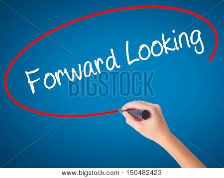 Women Hand Writing Forward Looking With Black Marker On Visual Screen