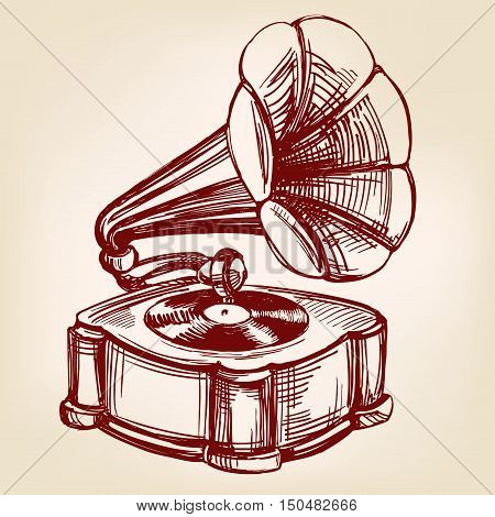 gramophone- vintage hand drawn vector llustration realistic sketch