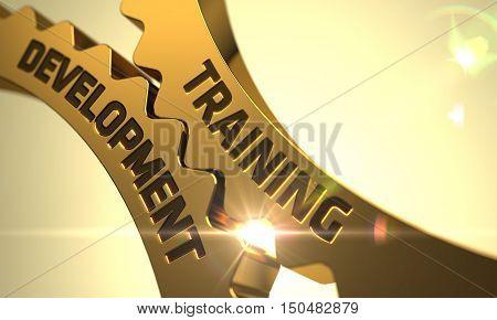 Training Development on the Golden Metallic Cog Gears. 3D Render.