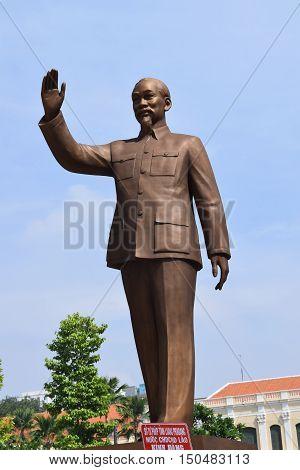 statue of Ho Chi Minh president in saigon vietnam