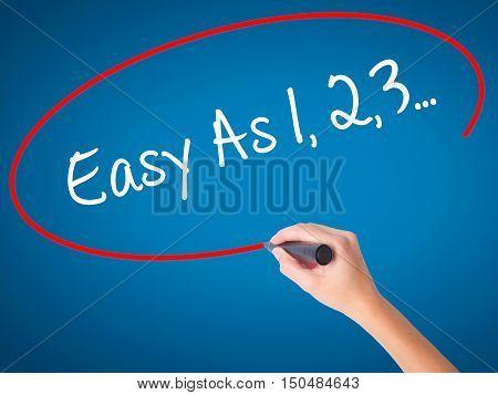 Women Hand Writing Easy As 1,2,3