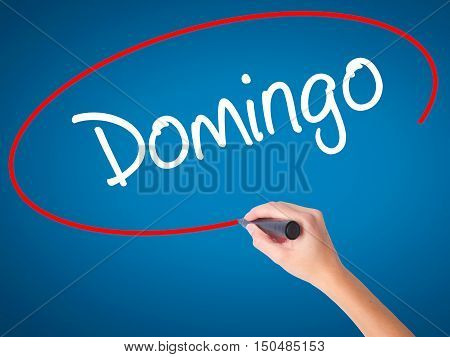 Women Hand Writing Domingo  (sunday In Spanish/portuguese) With Black Marker On Visual Screen