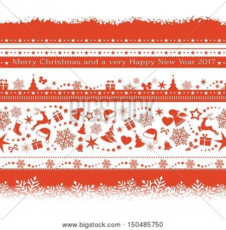 Flat monochrome seamless borders with Christmas ornaments, stars, snowflakes, stockings, ribbons, bells, Santa's hat as useful design elements.