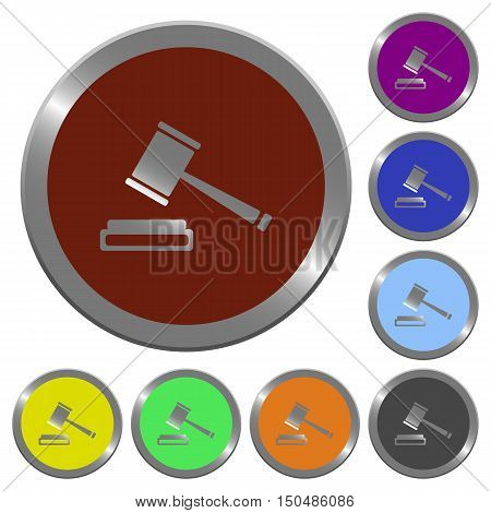 Set of color glossy coin-like auction hammer buttons