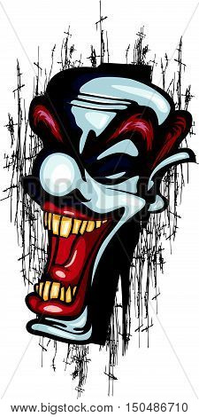 Clown Laughing Vector Tattoo Joker scary circus scratch grunge