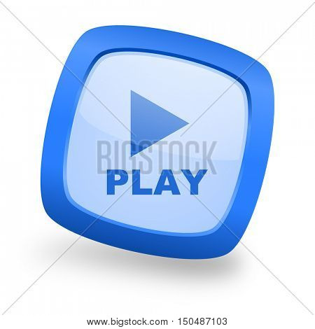 play blue glossy web design icon