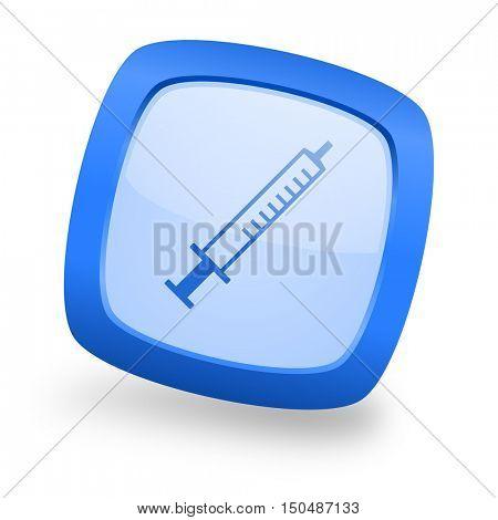 medicine blue glossy web design icon