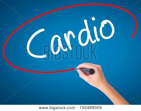 Women Hand Writing Cardio With Black Marker On Visual Screen