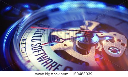 Vintage Watch Face with Cloud Software Wording, Close Up View of Watch Mechanism. Business Concept. Film Effect. Watch Face with Cloud Software Text on it. Business Concept with Lens Flare Effect. 3D.