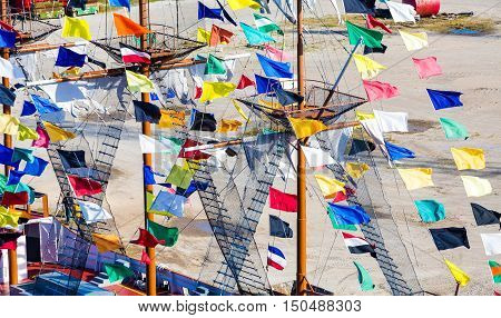 Many Colorful Pennants on a Ship Masts