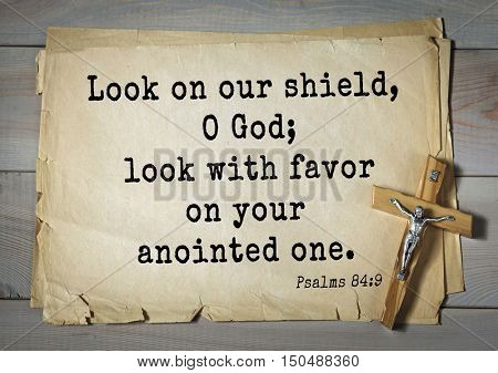 TOP-1000.  Bible verses from Psalms. Look on our shield, O God; look with favor on your anointed one.
