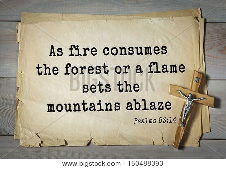 TOP-1000.  Bible verses from Psalms. As fire consumes the forest or a flame sets the mountains ablaze