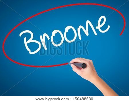 Women Hand Writing Broome With Black Marker On Visual Screen.