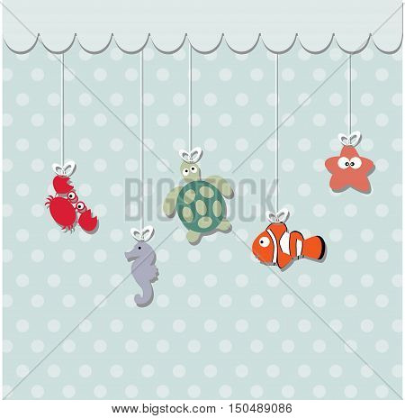 cute baby card for greeting or invitation. A template for an album page or scrapbook. Baby vector illustration. Baby shower or arrival