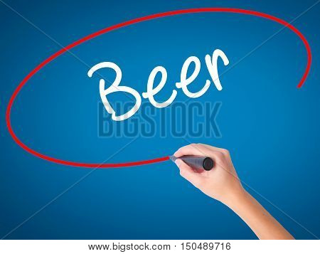 Women Hand Writing Beer With Black Marker On Visual Screen