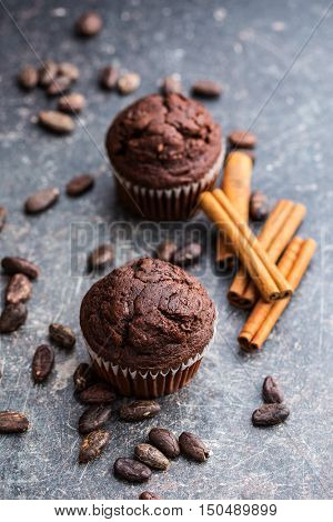 The tasty chocolate muffins and cocoa beans on old kitchen table.