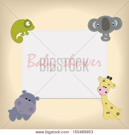 children's square frame with cute African animals. Template for greetings or page for a scrapbook album. Baby vector illustration. Baby shower or arrival