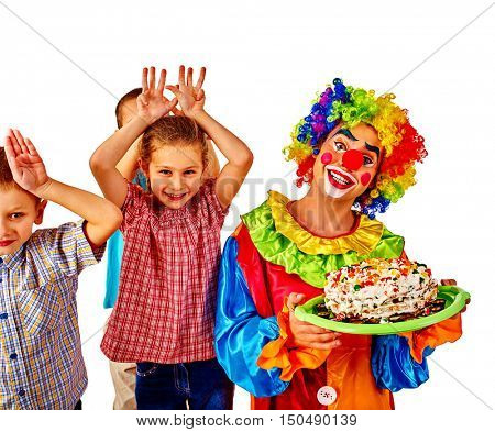Clown with group children keeps cake on birthday. Happy Birthday to My Best Friend. Isolated.