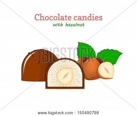 Vector chocolate candies illustration. Set of two chocolates and a piece of whole breast with sweet hazelnuts. Delicious sweets for menu design, cards, candy packaging