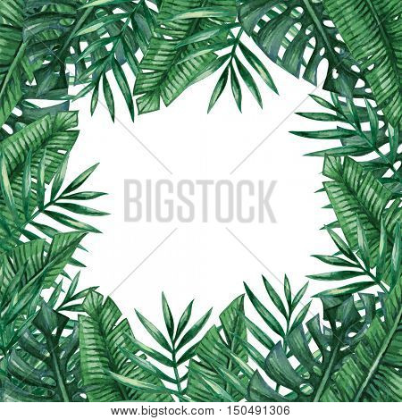 Palm tree leaves background template. Tropical greeting card.
