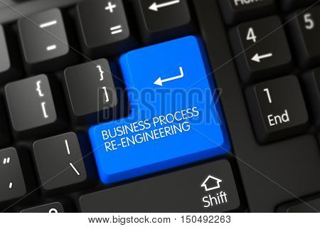 Button Business Process Re-Engineering on PC Keyboard. 3D Render.