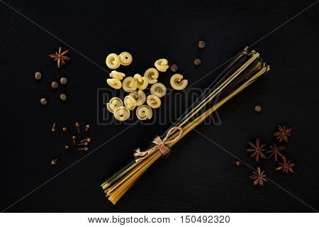 Traditional And Black Uncooked Italian Pasta Linguine, Italian Pasta Cappelletti