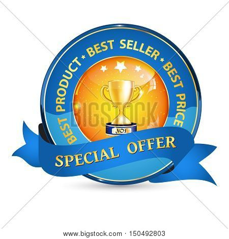 Special offer, best product, best seller - elegant business ribbon with champion cup, vector