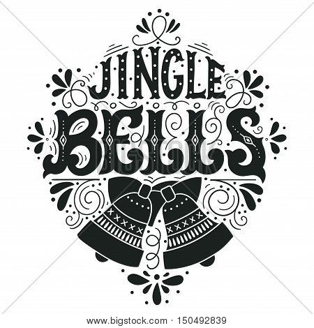 Jingle Bells. Christmas Lettering With A Bell And Decorative Design Elements.
