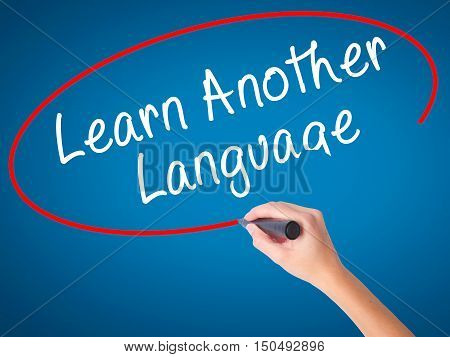 Women Hand Writing Learn Another Language With Black Marker On Visual Screen