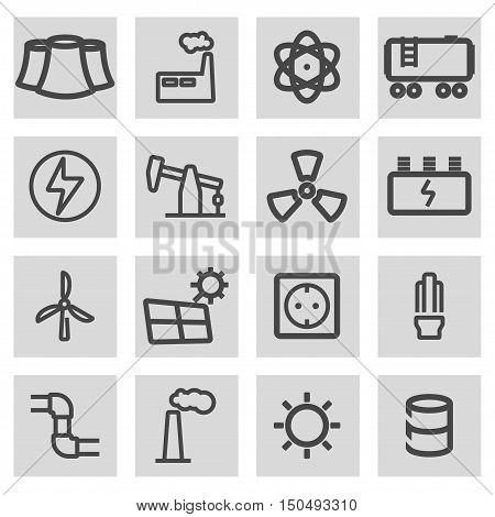 Vector black line energetics icons set on grey background