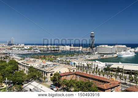 BARCELONA, SPAIN - JULY 12, 2016: Barcelona (Catalunya Spain): panoramic view from the hill of Montjuic (Montjuich) of the Mediterranean Sea and the port