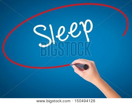 Women Hand Writing Sleep With Black Marker On Visual Screen