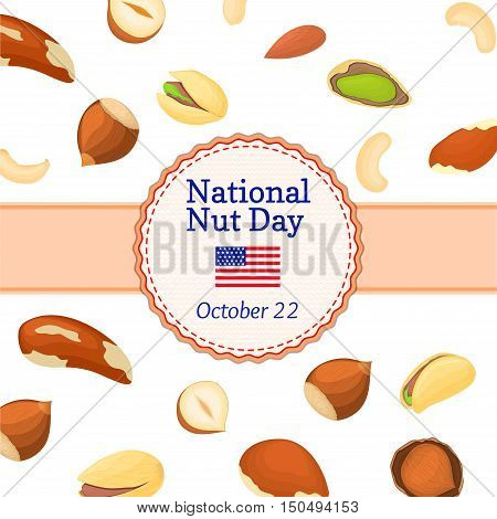 Vector illustration national nut day card. Round colored frame composed of different nuts brazil, cashew, peanut, pecan, pine, pistachio. Circle nuts frame with place for text packaging design element