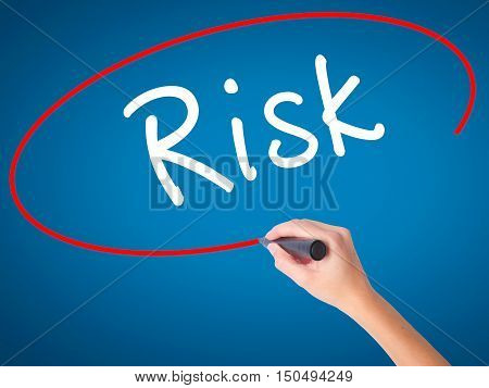 Man Hand Writing Risk With Black Marker On Visual Screen