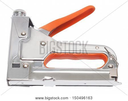 Building metal stapler isolated on white background