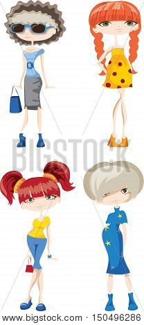 Cartoon fashionable cute girls,illustration picture for your desing