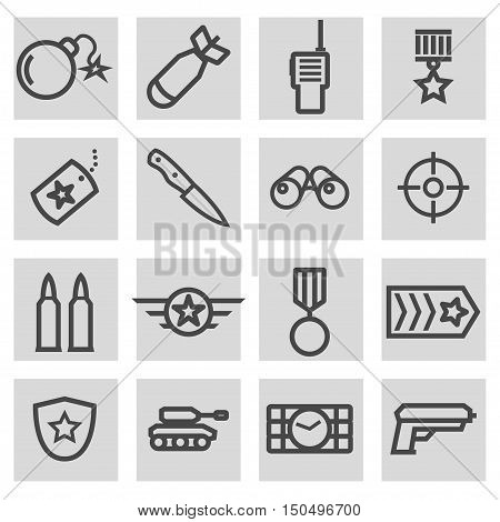 Vector black line military icons set on grey background