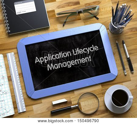 Small Chalkboard with Application Lifecycle Management Concept. Application Lifecycle Management on Small Chalkboard. 3d Rendering.