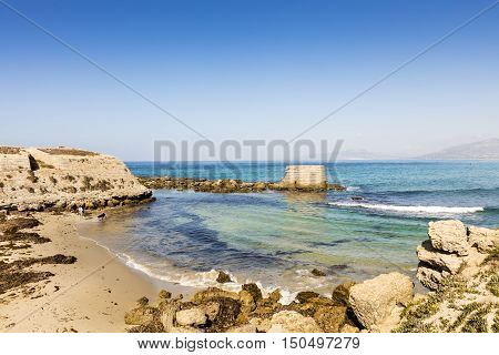 Atlantic waves at a small sandy beach in Spain.