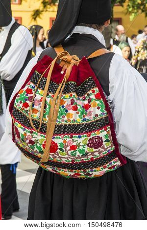 SELARGIUS, ITALY - September 8, 2013: Former marriage Selargino - Sardinia - detail of a traditional Sardinian costumes