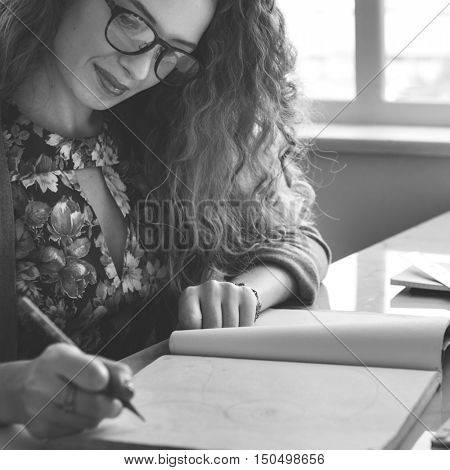 Woman Writing Report Statement Concept