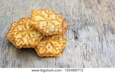 Christmas homemade cookies. Cookies in the form of snowflakes. Sugar Cookies.