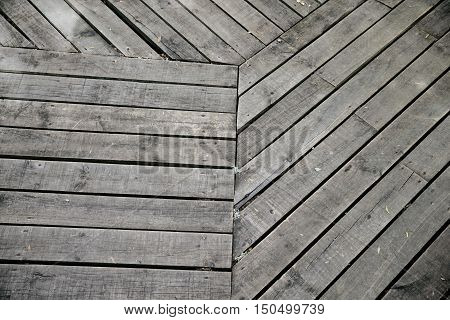 Top view of wooden ground in gray scale