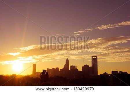 Amazing Sunrise Over Charlotte North Carolina