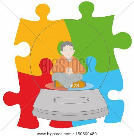 Autism concept. boy in a snow globe on the background of the sign. vector illustration.