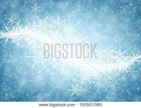 Blue luminous winter background with whirl of snowflakes. Vector illustration.