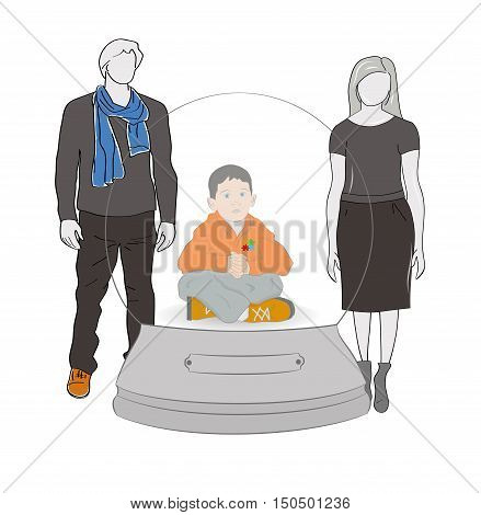 Autism concept. boy in a snow globe on the background of the parents. vector illustration.