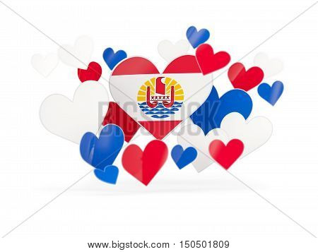 Flag Of French Polynesia, Heart Shaped Stickers